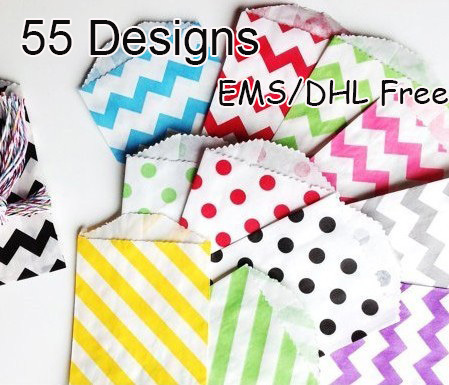 Wholesale 59 Patterns 3000pcs/lot  Colorful wave/Striped/Dots Favor Bags, Bitty bag,Gift paper bag 13x18cm Free shipping
