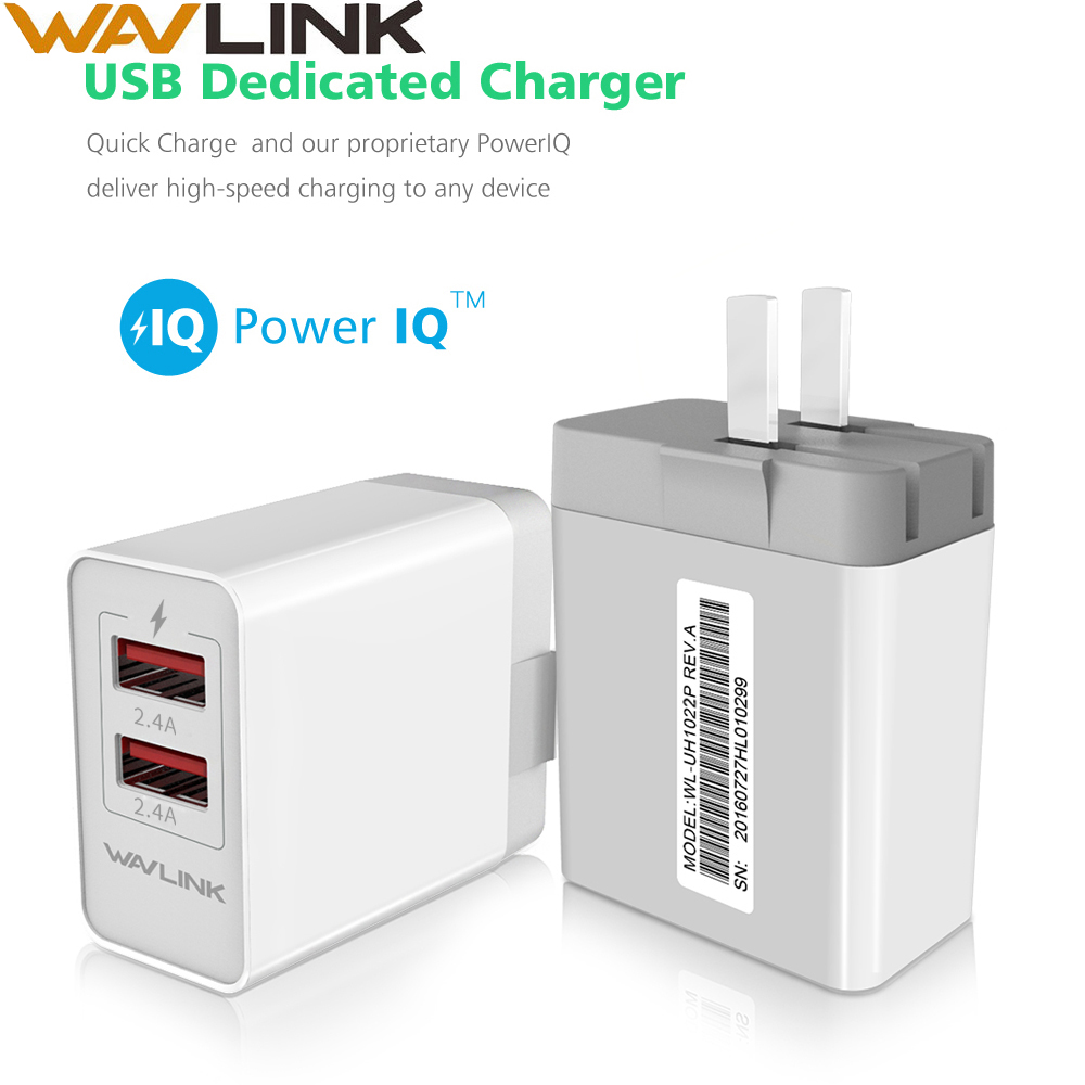 Wavlink 2-Port 24W/4.8A USB Wall Charger Desktop station DC5V/2.4A Travel Charger Adapter with Foldable Plug for Mobile Phone