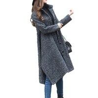 2017 New Fashion Autunno Inverno Lungo Cappotto di Lana Donne di Grandi Dimensioni Mantello Sciolto Trincea Cappotto Femminile Nero Irregolare Cappotto L409