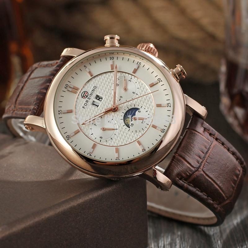 Frosining FSG553M3R1 Luxury Automatic rose gold moon phase watch brown  leather strap Men wristwatch for Men shipping free-in Mechanical Watches  from Watches ... bae1394a2