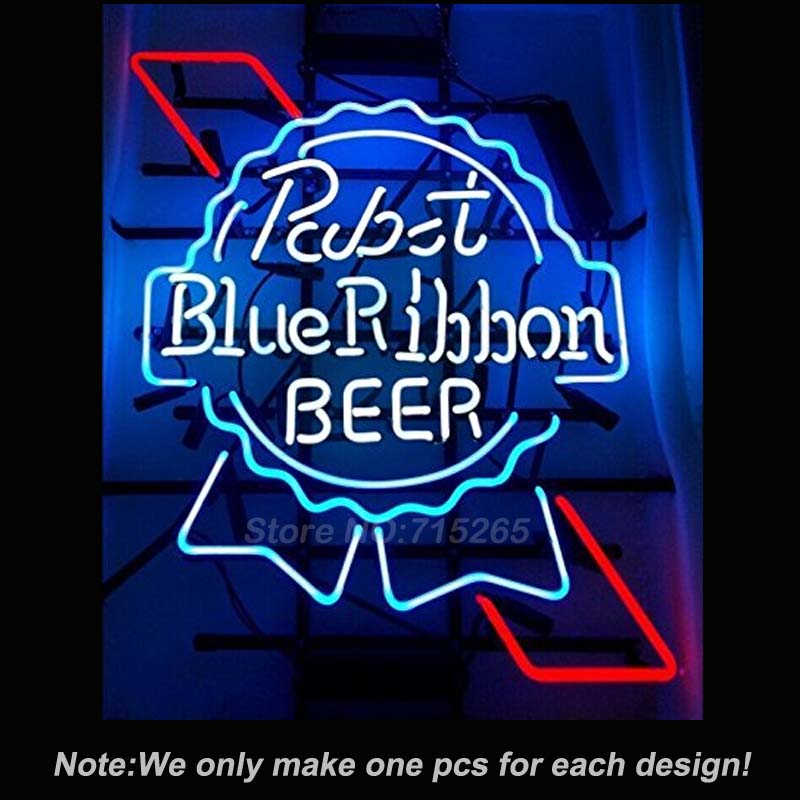 Pabst Blue Ribbon BEER Neon Sign Real Glass Tube Decorate Neon Bulbs Lamp INdoor a Frame
