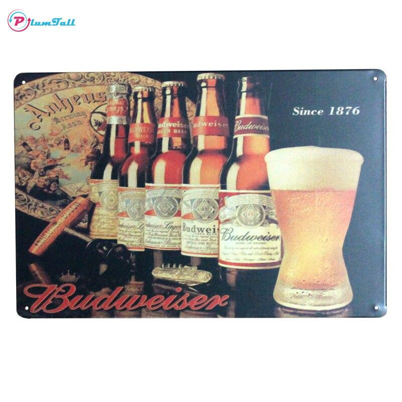 Budweiser Beer Metal muestra pared arte pintura placa vintage metal ...