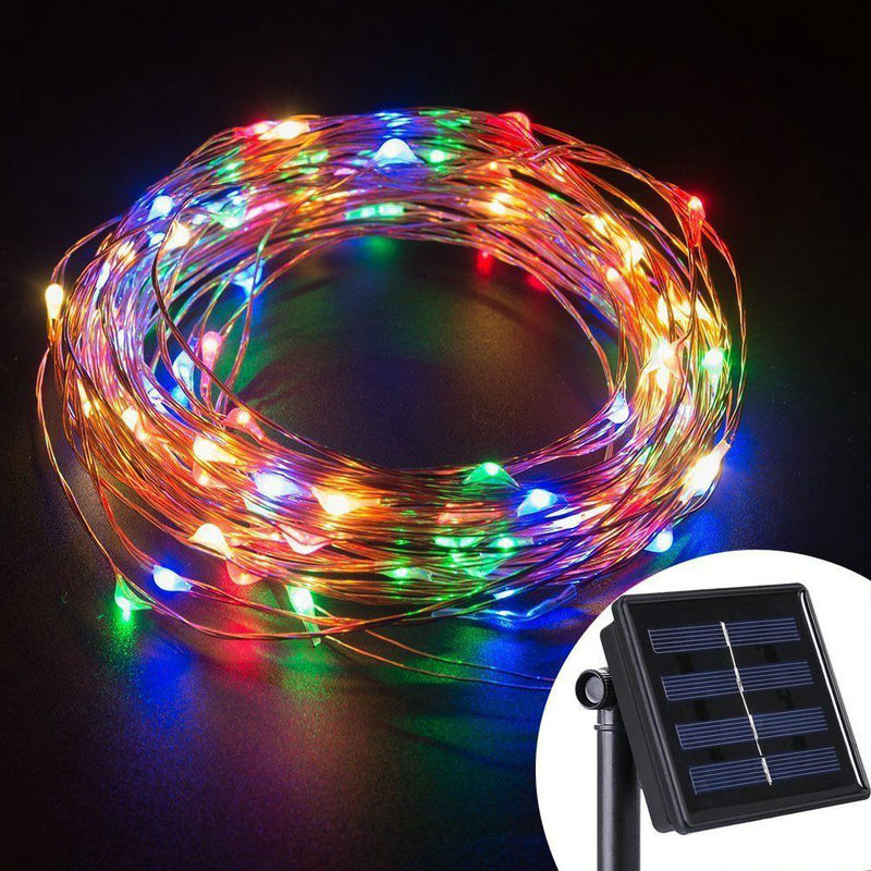 Solar powered 10M/33FT 100LED starry Copper Wire String Fairy Light moon vine lamp Xmas Christmas Wedding party Decor-Multicolor