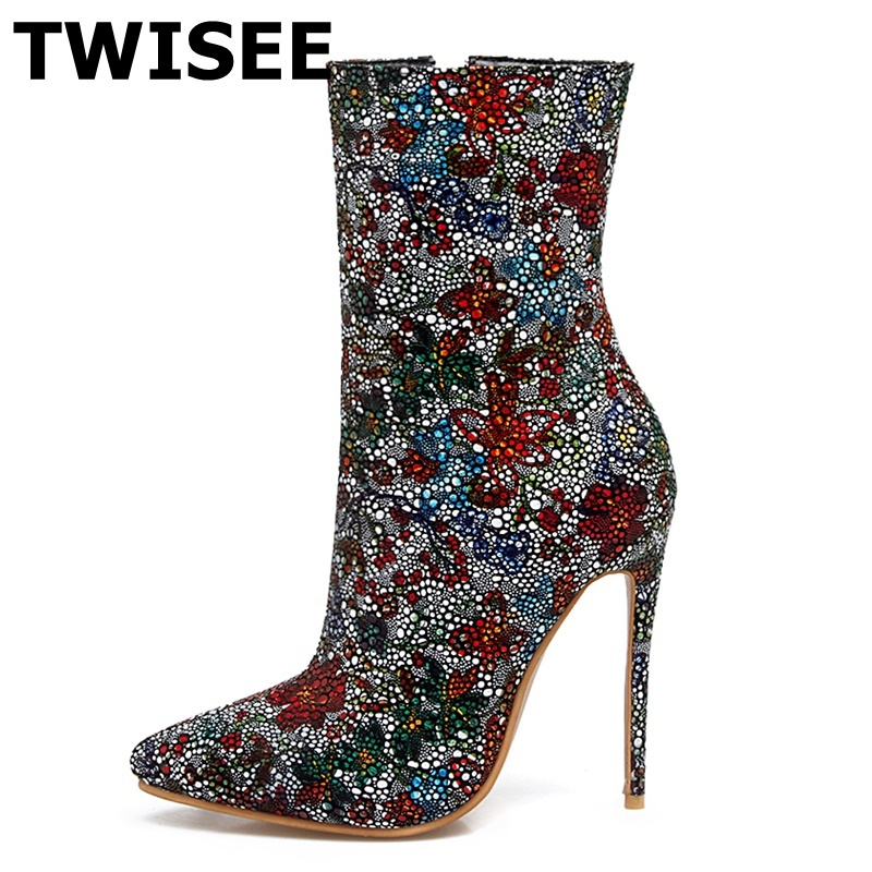 TWISEE sexy Crystal women thigh high boots Winter ankle Boots Platform Height dance Boots Heel Height 12cm botas mujer size43