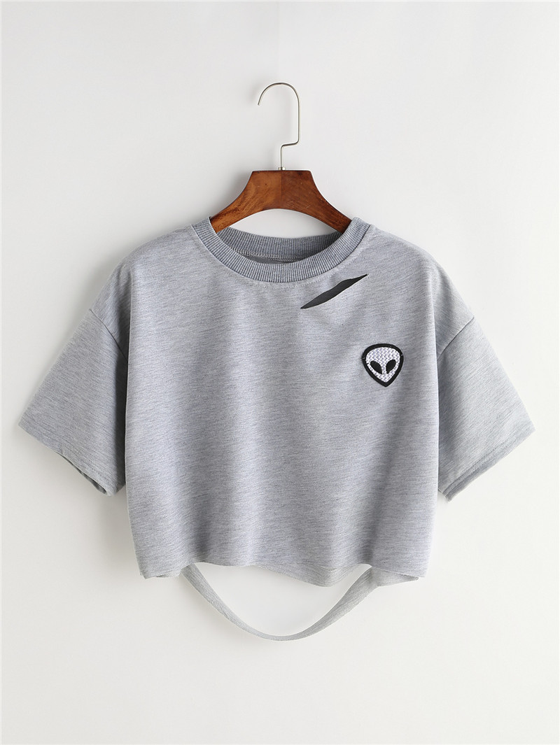 HTB1xqdnQVXXXXbuXXXXq6xXFXXXd - Women Summer T-shirts Alien Embroidery PTC 103
