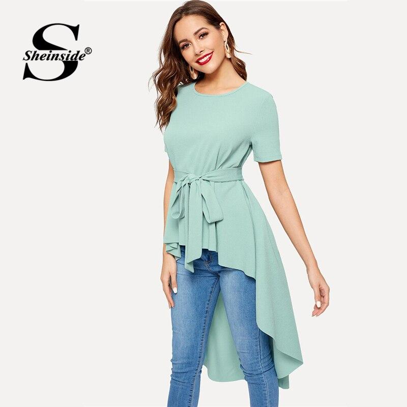 Sheinside Elegante Mittlere Taille Belted Longline Bluse Frauen 2019 Frühling Kurzarm Grün Blusen Damen Solide Dip Saum Top
