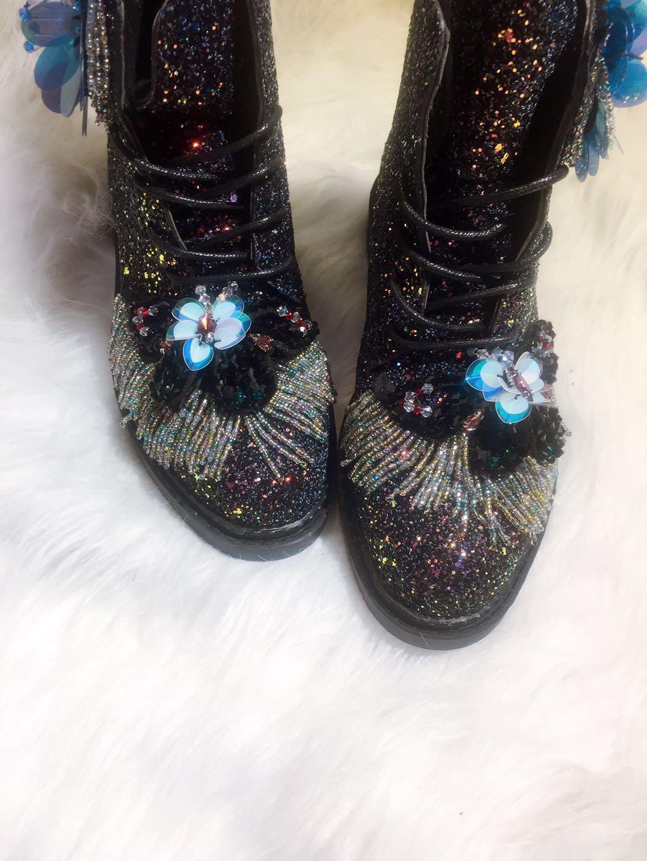 Bottes Étudiants Pour Noir Filles Avec Sequin Lady Coloré Perle Cheville Bout Pompon 3cm up Rond Bling Femmes Dentelle Chaussures Heel xTpn6ZwqI
