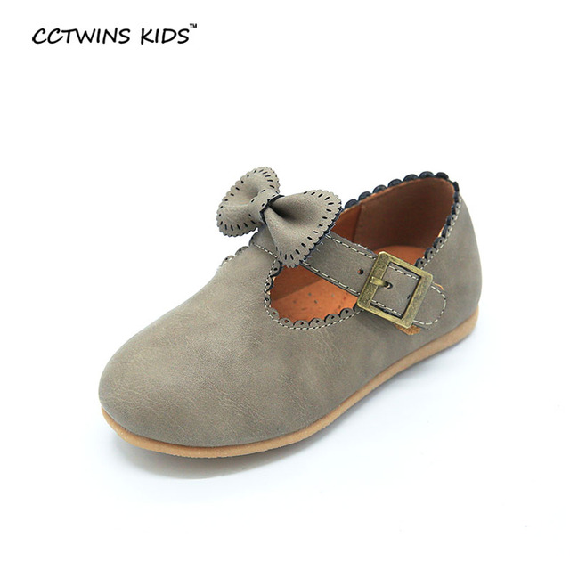 CCTWINS KIDS spring autumn toddler brand party shoe fashion flat pu leather for children baby girl princess bow ballet gray