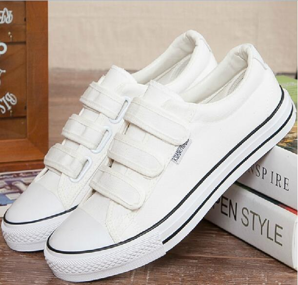 2663dfa5281 2016 Autumn and winter Men s Canvas Shoes Help Low Rubber Sole Casual Shoes  Comfortable Breathable White Flat With Board Shoe