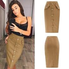 Модная женская офисная юбка средней длины размера плюс, открытая Сексуальная узкая элегантная юбка карандаш, Офисная Женская юбка