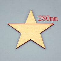 6pcs/lot Blank unfinished wooden pentagram crafts supplies laser cut rustic wood wedding rings ornaments 280mm 171147