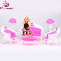 UCanaan 3 Sofa 1 Table 2 Lamp Total 6 PCS Accessories For Barbie Doll Plastic Set