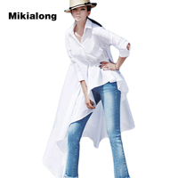 Mikialong 2017 Plus Size Fashion Asymmetric Irregular White Long Blouse Women Shirt Korean Spring Long Sleeve