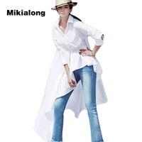 Mikialong 2017 Plus Size Fashion Asymmetric Irregular White Long Blouse Women Shirt Korean Spring Long Sleeve