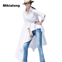 Mikialong 2017 Plus Size Fashion Asymmetric Irregular White Long Blouse Women Shirt Korean Spring Long Sleeve Ladies Top Femme