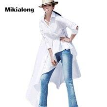 Mikialong 2017 Plus Size Fashion Asymmetric Irregular White Long Blouse Women Shirt Korean Spring Long Sleeve Ladies Top Femme