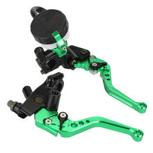 Universal CNC 7/8 22mm 125-400cc Green Adjustable Motorcycle Brake Clutch Levers Master Cylinder Reservoir Set For Kawasaki D10