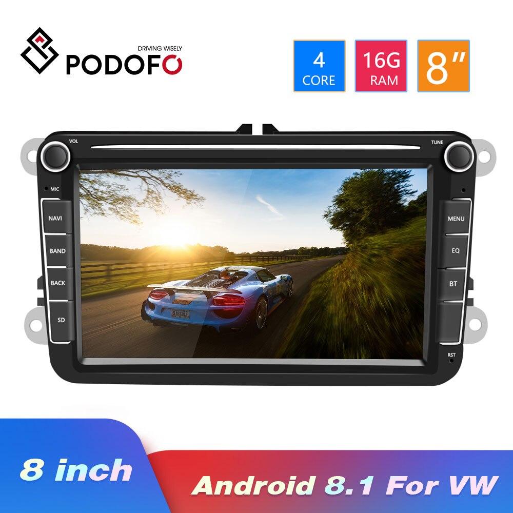 Rádio Auto Android 8.1 2Din Podofo 8''Audio MP5 Vídeo Multimídia Carro Jogador GPS Rádio Estéreo Do Carro Para Seat/Skoda /Passat/Golf/Polo