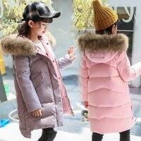 Girls Down Coat Winter Kids Parka Jackets 2018 Warm Teenage Girls Coats Fur Collar Hooded Girls Outerwear RT208