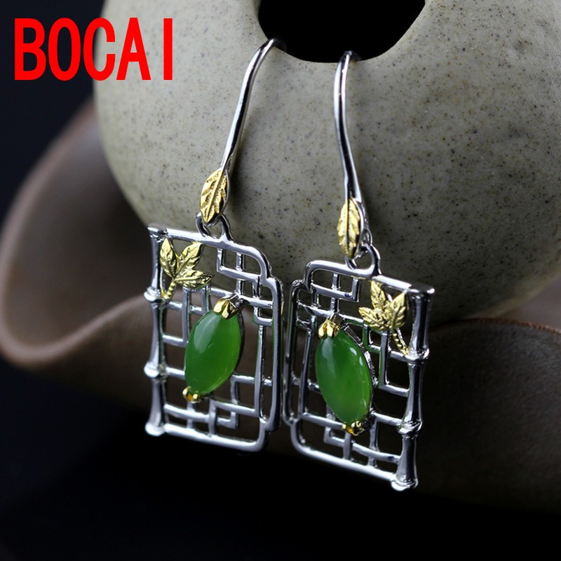 S925 silver jewelry  classic female models and Tian Biyu retro Earrings