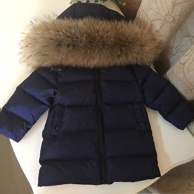 Winter Children's Outerwear 90% Duck Down Jacket with Big Fur Collar Style Baby Boys And Girls Warm Coat