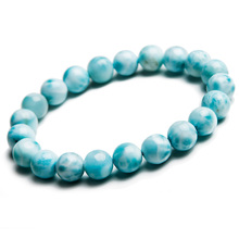 9mm Natural Larimar Blue Beads Bracelet From Dominica Gemstone Healing Stretch Water Pattern AAAAAA цена в Москве и Питере