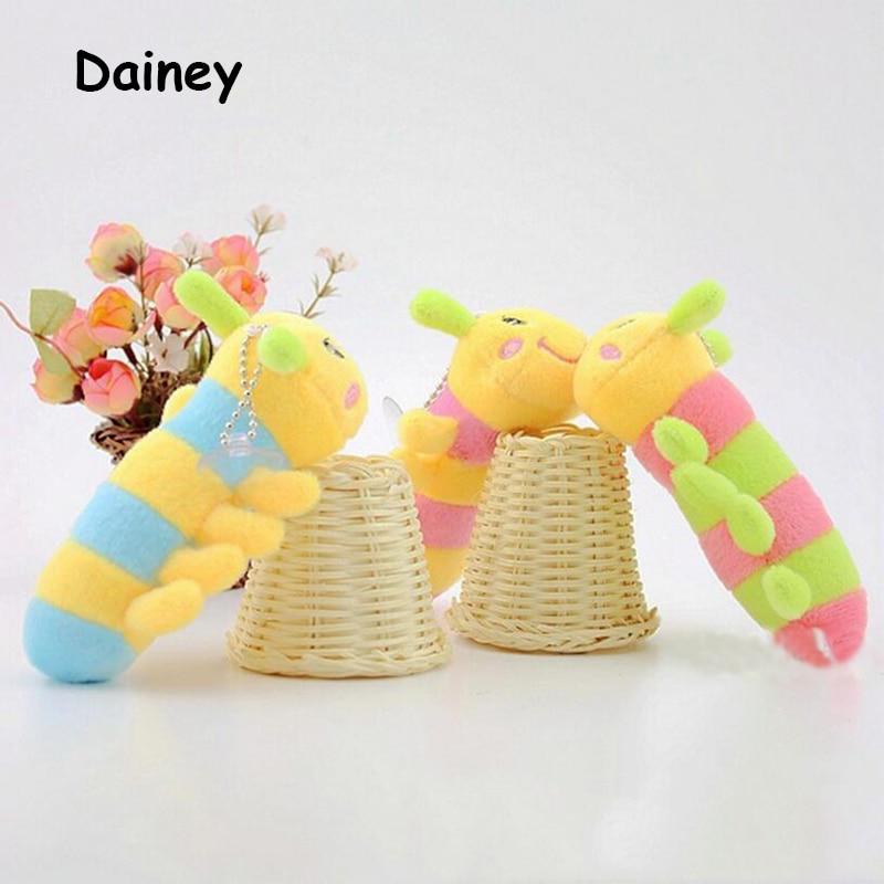 1PCS 12cm Lovely Inchworm Toy Soft Plush Caterpillars Hold Keychain Pendant Doll Toys For Children Baby & Kid Plush Toys MRT09  lovely sing dance dog toy pusheen cotton soft plush hold doll antistress for children baby