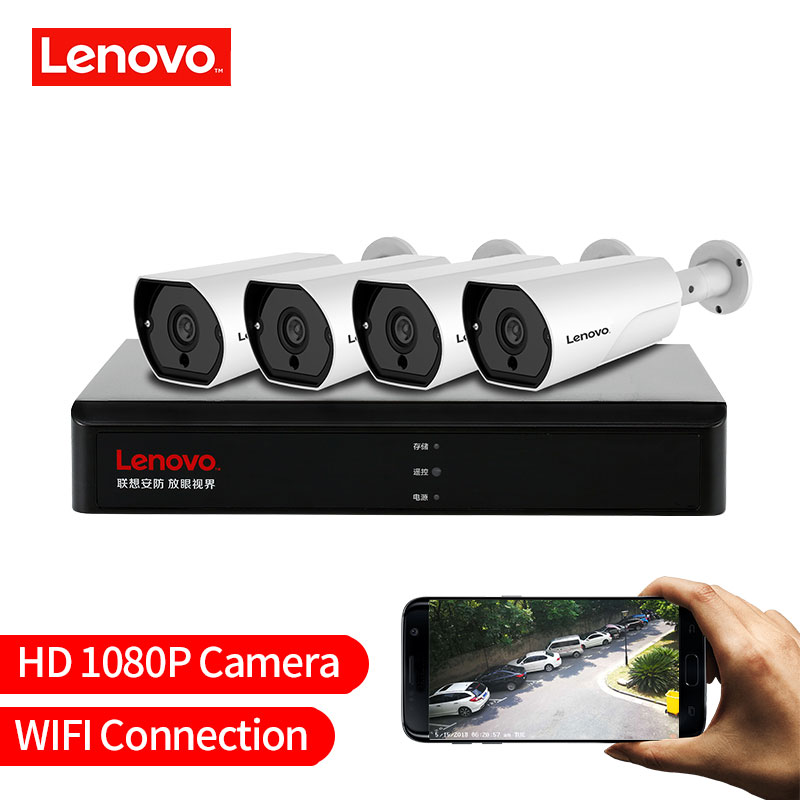 LENOVO 4CH 1080 p POE NVR Kit 2.0MP HD CCTV Sistema di telecamere di Sicurezza Audio monitor IP Camera P2P Video Esterno sistema di sorveglianza