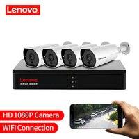 LENOVO 4CH 1080 P POE NVR комплект 2.0MP HD видеонаблюдения Камера Системы аудио ip камера с монитором P2P наружного видеонаблюдения Системы