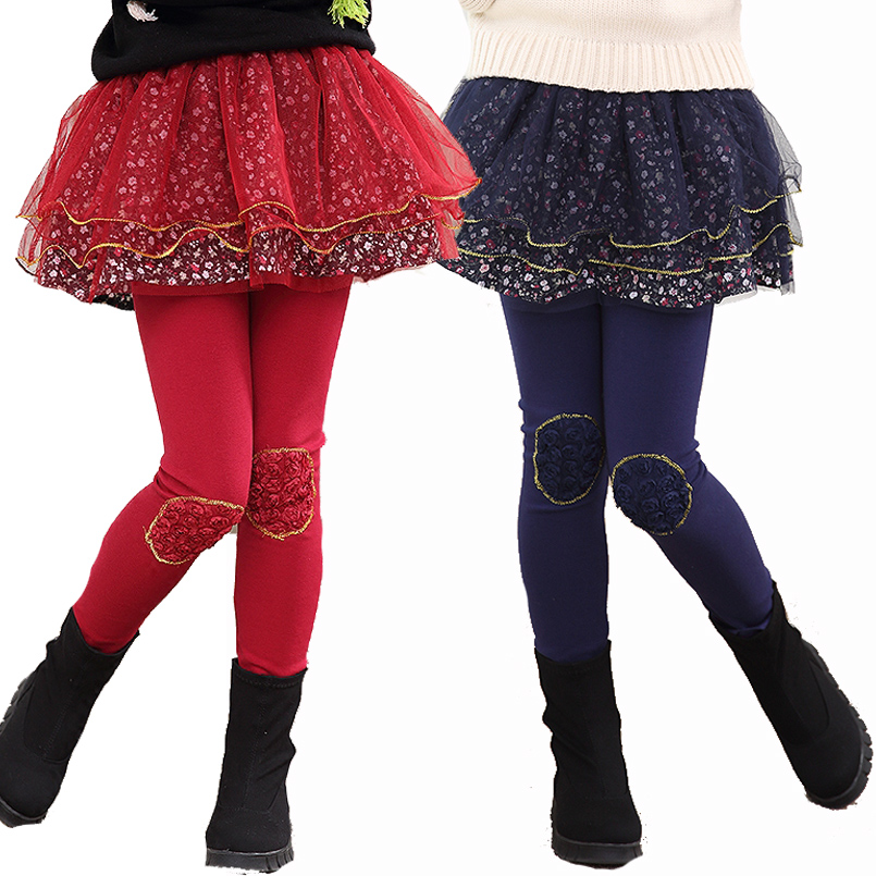 Kids Winter Leggings For Girls Skirts Cotton Floral Print Pants For Girls Trousers Thicken Warm Girls Leggings 3 5 7 9 11 Years kids floral print pants