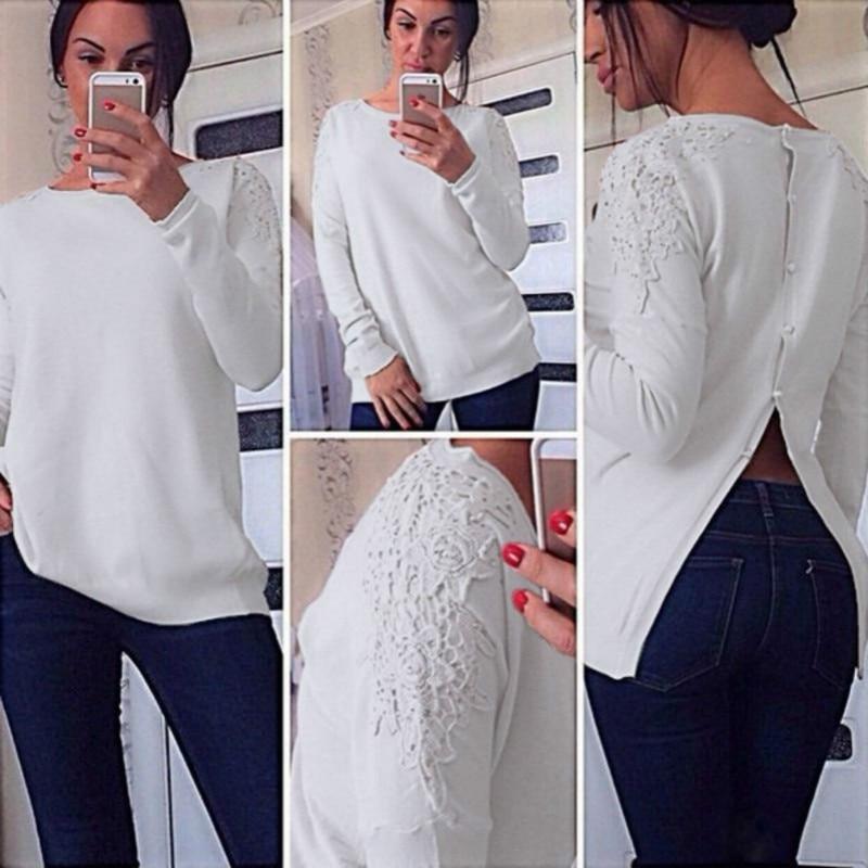 las mujeres larga Blusas Tops ropa de mujeres Loose trasera blusa   y La de  manga de ... 76529001d10