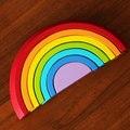 Bebé de madera colores especie arco iris bloques juguetes / niños bloques de montaje de niños para bebé early learning juguetes educativos, envío gratis