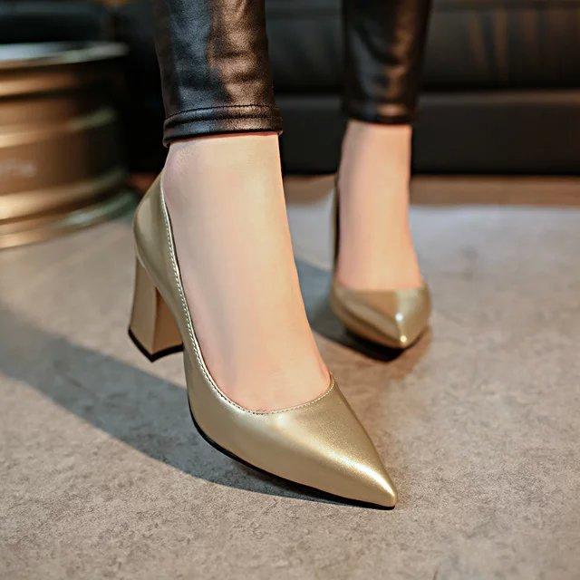 Femme Pompes 2018 rouge Peu Chaussures M445 Pointu Femmes Simple Profonde bleu Talons Bureau argent or En Haute Cuir Noir Partie rr1qStPxw