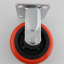 1 pcs PVC /PU red Korean 5inch Heavy duty Caster for Industrial Equipment fixed caster
