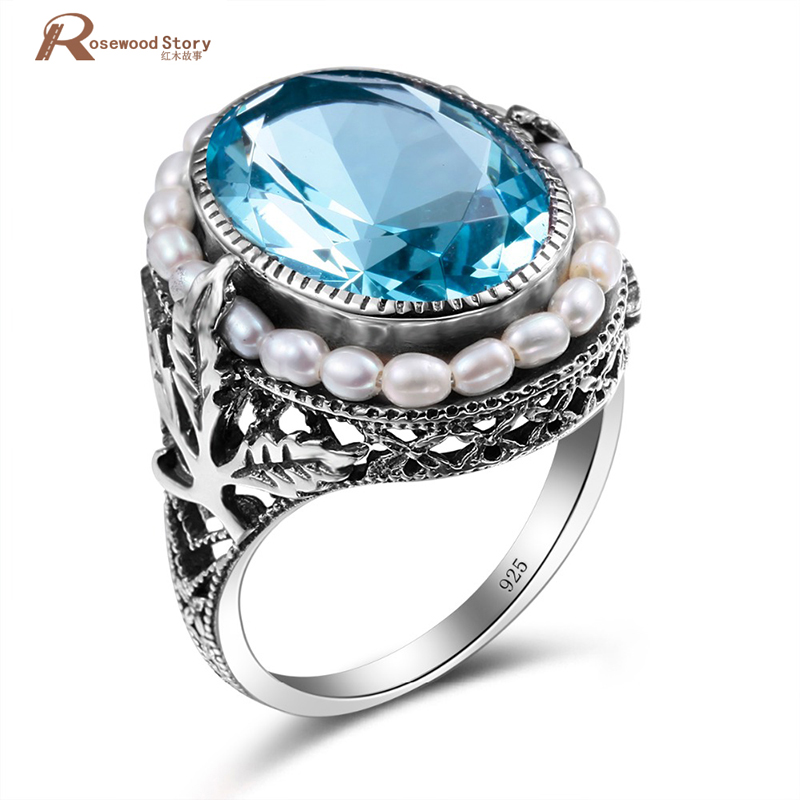 100% Natural Pearl Rings Moonlight Blue Stone CZ Real 925 Sterling Silver Engagement Wedding Ring Vintage Fine Jewelry For Women