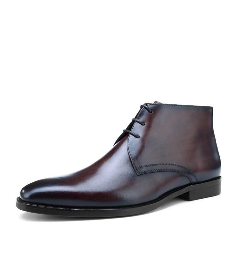 4cbfde0d2e2 Warm Wool Insole Black / Tan Mens Ankle Boots Dress Boots Genuine Leather  Winter Social Shoes Man Business Shoes