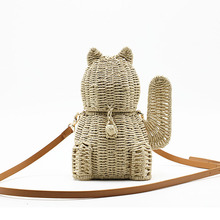 New Lucky Cat Straw Bag Hand-Woven Animal-Shaped Cartoon Cute Hang Buckle Shoulder Fashion Lovely Lady Crossbody