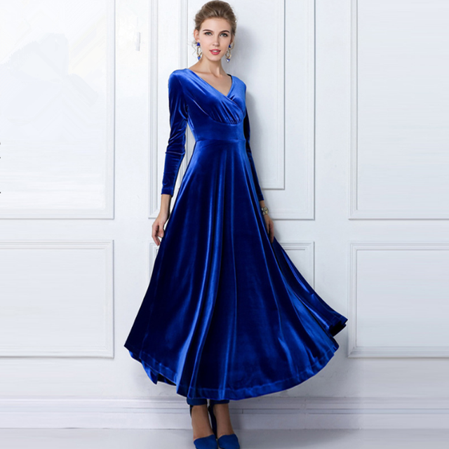 ALABIFU Autumn Winter Dress Women 2019 Casual Vintage Ball Gown Velvet Dress Plus Size 3XL Sexy Long Party Dress Vestidos 5