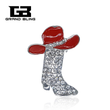 Red Hat Lady Jewelry Brooch Clear Rhinestone Boot Lapel Pin with a Red Hat on Top