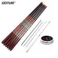 Canne à pêche télescopique combinée Goture Rod 3.0 M-7.2 M Fiber de carbone 2/8-3/7 pôle de main de puissance + plate-forme de flotteur de pêche et dessus de rechange-trois conseils
