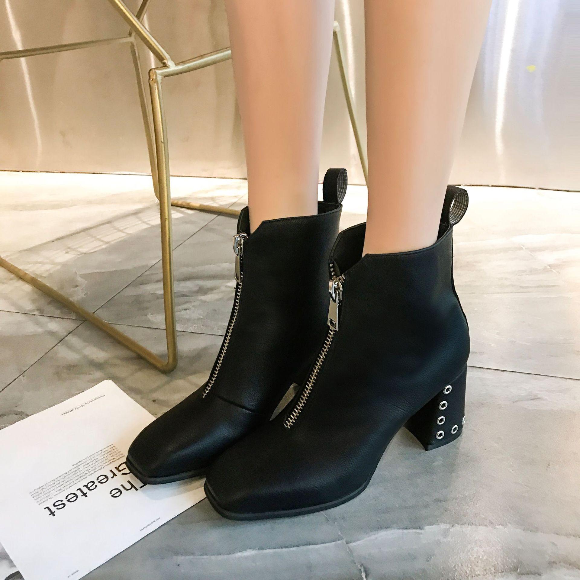 Sexy negro Botas Beige De Tobillo Señoras Mujer Tacón Cuadrado Pie Chelsea Del Martin Alta Remache Las Zapatos Cremallera Dedo UEUTq4rnd