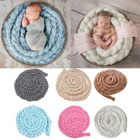 Newborn Baby Infant Wool Yarn Braided Knitted Rug Blanket Photography Photo Background Props Basket Stuffer Filler