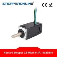 Nema 6 Stepper Motor Mini Step Motor Bipolar 14x14x30mm 1.8deg 0.58Ncm(0.82oz.in) 0.3A 4 lead for CNC 3D Printer