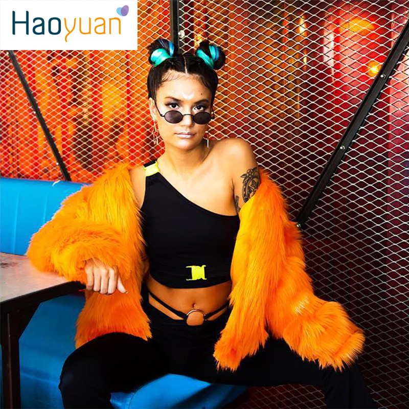 HAOYUAN One Shoulder Buckle neon green Crop   Tops   Women Trendy Harajuku Streetwear rave festival Backless Tshirt Sexy   Tank     Top