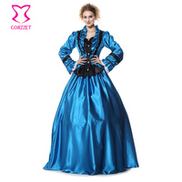 Blue/Black Satin Gothic Lolita Ball Gown Carnival Party Dress Cosplay Civil War Victorian Period Costume Halloween Sexy Costumes