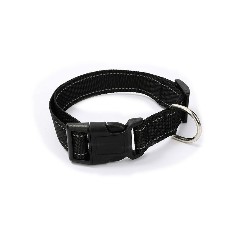 Adjustable Nylon Dog Collar Reflective Pet Collars Durable Comfortable Dog Neck for Small Medium Large dogs Black color S M L