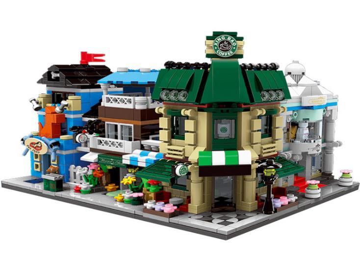 XingBao 01105 City Series Mini Streetscape Coffee Shop/Wedding shop/Flower Shop/Pet Shop Set 4in1 Building Blocks Bricks Toys