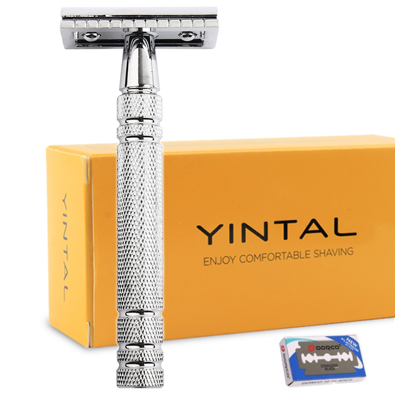 Razors for Shaving Men Double Edge Razor Bright Brass Blade Replaceable Chrome Manual Classic Safety Razor razors for shaving men double edge razor bright brass blade replaceable chrome manual classic safety razor