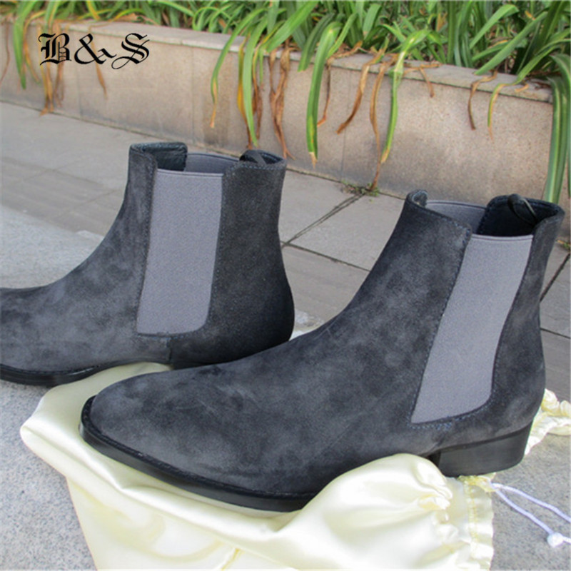 Black& Street SLIM Pointed Toe Genuine Leather Chelsea Boot Plus Size 35-47 Wedge Real Picture Comfortable Quality Boots
