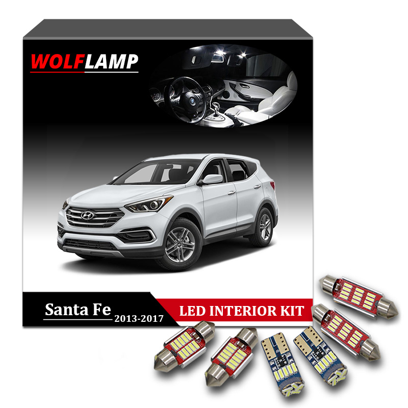Wolflamp 9Pcs Super Bright Canbus LED Interior Car Lights For 2013-2017 Hyundai Santa Fe Map Light Dome Lamp License Plate Bulb 13pcs canbus car led light bulbs interior package kit for 2006 2010 jeep commander map dome trunk license plate lamp white page 3